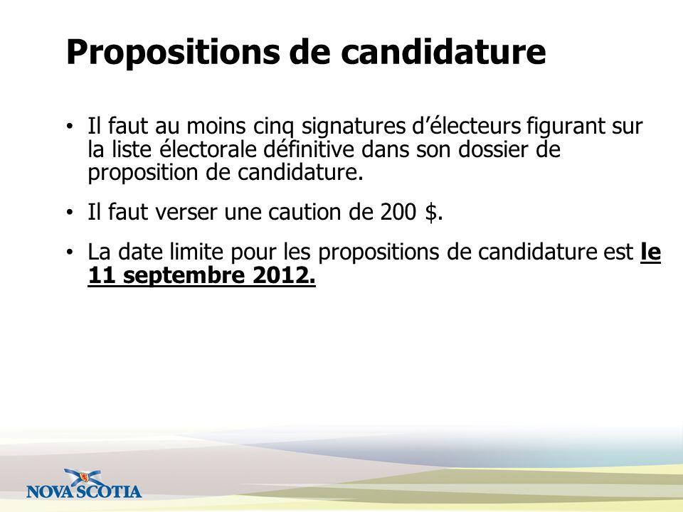 Propositions de candidature Il faut au moins cinq signatures d'électeurs figurant sur la liste électorale définitive dans son dossier de proposition de candidature.