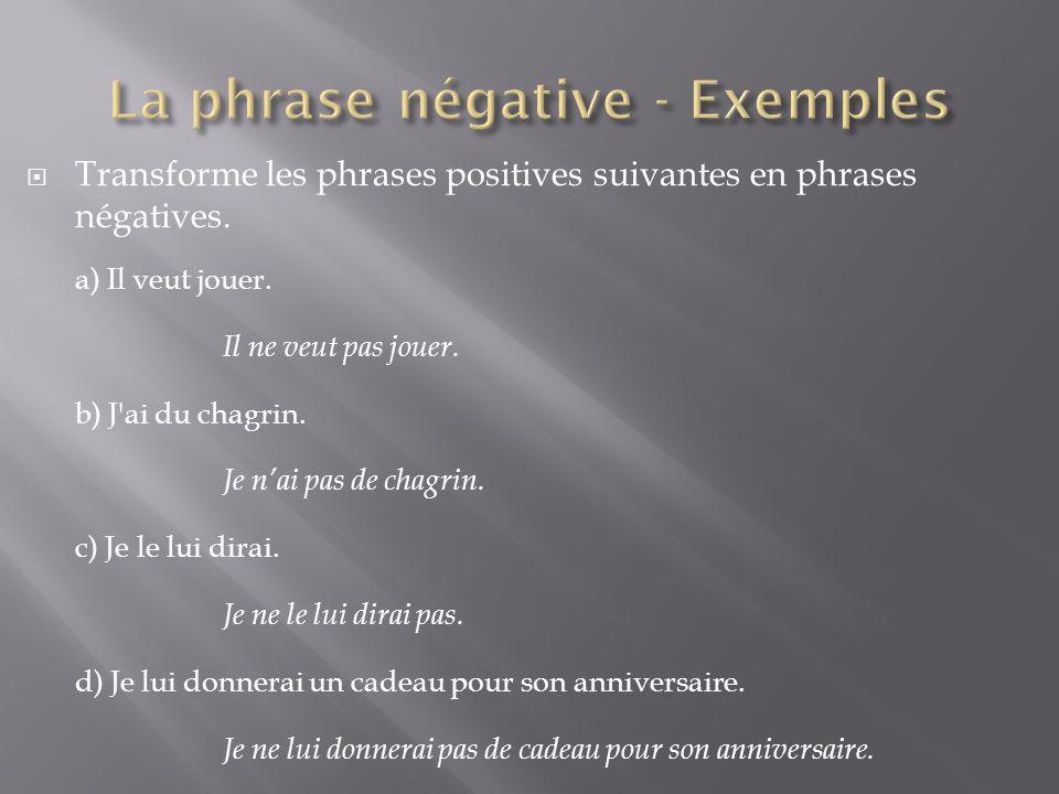  Transforme les phrases positives suivantes en phrases négatives. a) Il veut jouer. Il ne veut pas jouer. b) J'ai du chagrin. Je n'ai pas de chagrin.