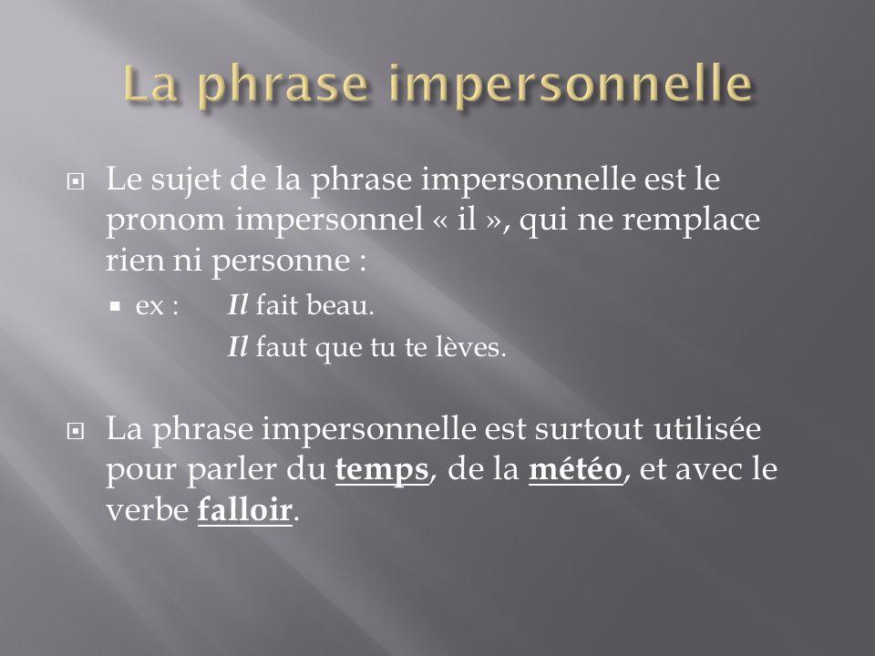  Le sujet de la phrase impersonnelle est le pronom impersonnel « il », qui ne remplace rien ni personne :  ex : Il fait beau. Il faut que tu te lève