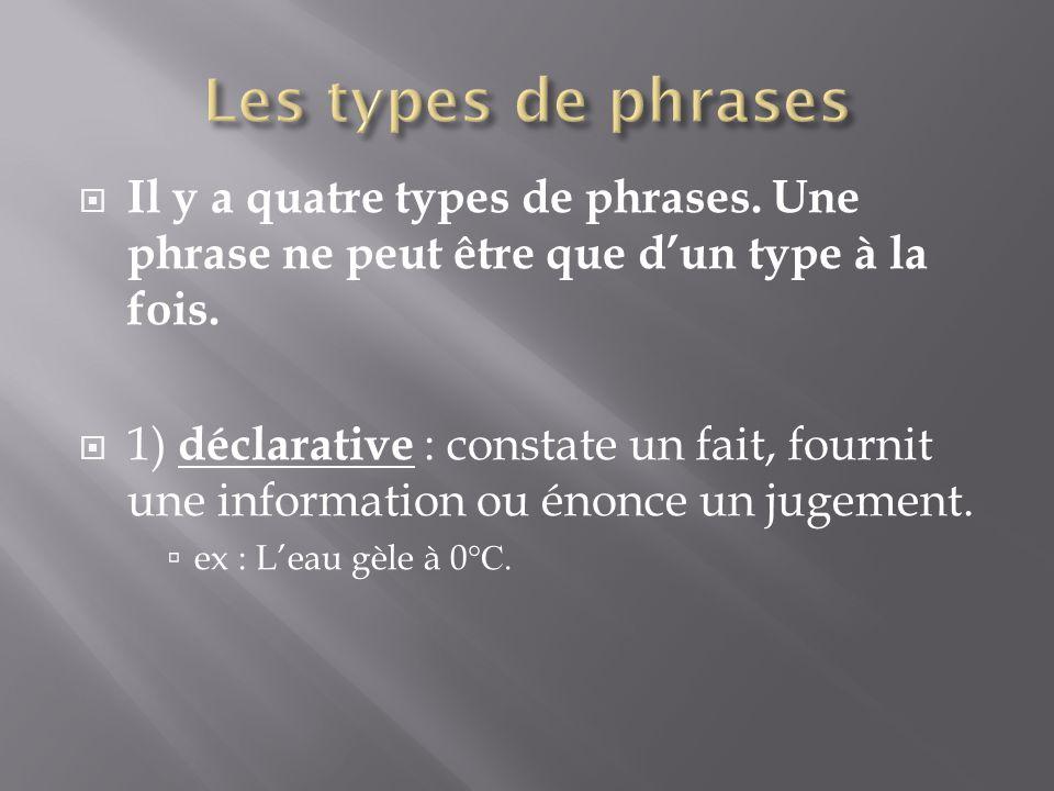  Il y a quatre types de phrases. Une phrase ne peut être que d'un type à la fois.  1) déclarative : constate un fait, fournit une information ou éno