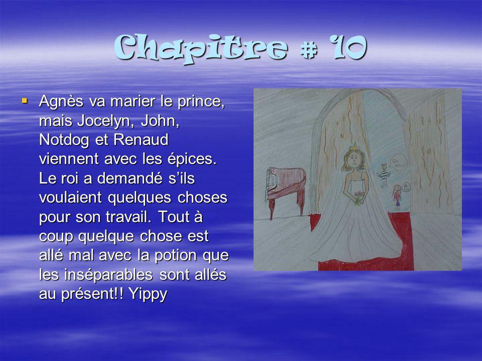 Chapitre # 10  Agnès va marier le prince, mais Jocelyn, John, Notdog et Renaud viennent avec les épices.