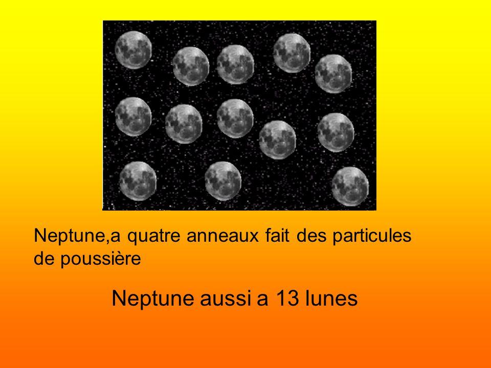 Neptune,a quatre anneaux fait des particules de poussière Neptune aussi a 13 lunes