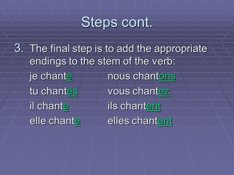 Steps cont. 3. The final step is to add the appropriate endings to the stem of the verb: je chantenous chantons tu chantesvous chantez il chanteils ch