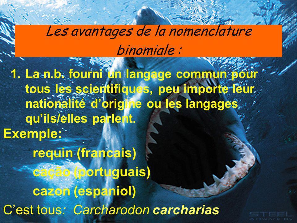 Les avantages de la nomenclature binomiale : 1.La n.b. fourni un langage commun pour tous les scientifiques, peu importe leur nationalité d'origine ou