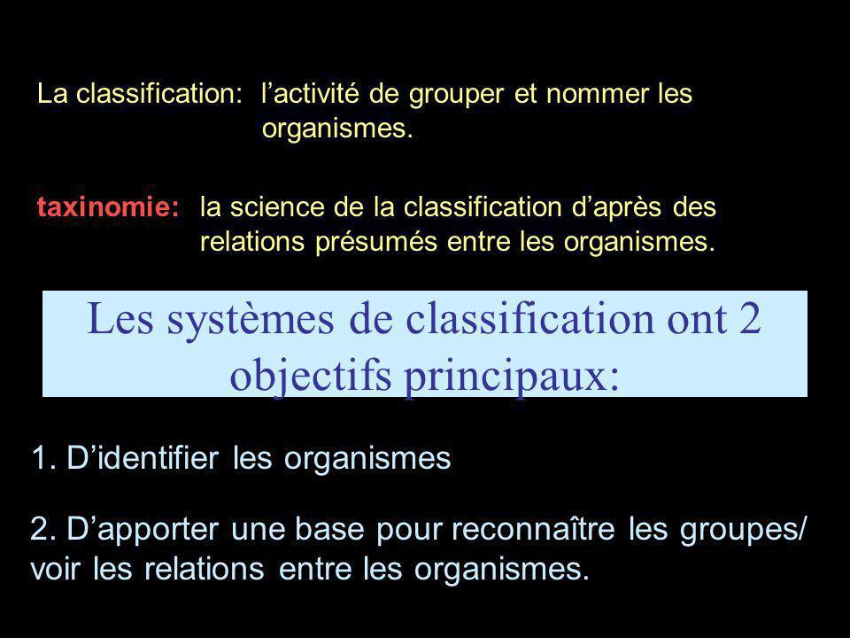 La classification: l'activité de grouper et nommer les organismes. taxinomie:la science de la classification d'après des relations présumés entre les