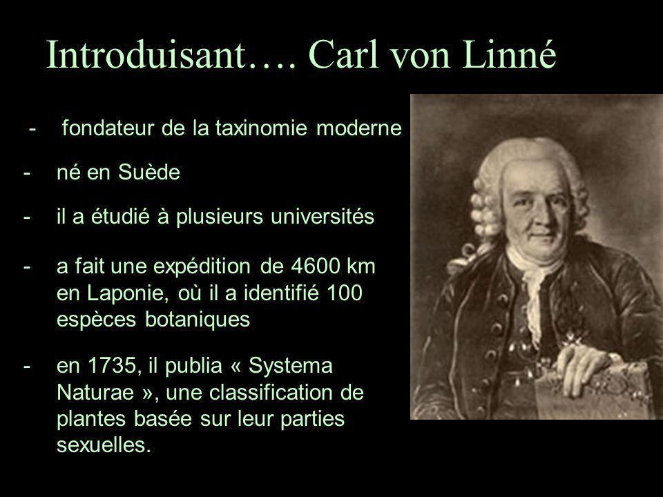 Introduisant…. Carl von Linné -fondateur de la taxinomie moderne -né en Suède -il a étudié à plusieurs universités -a fait une expédition de 4600 km e