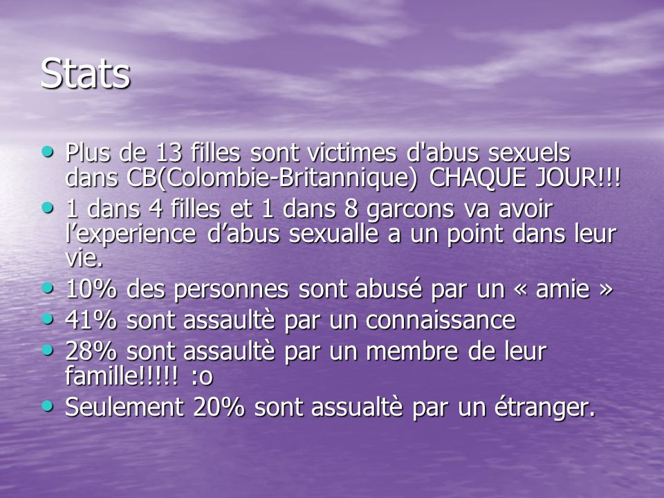 Stats Plus de 13 filles sont victimes d abus sexuels dans CB(Colombie-Britannique) CHAQUE JOUR!!.