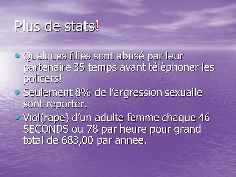 Plus de stats.