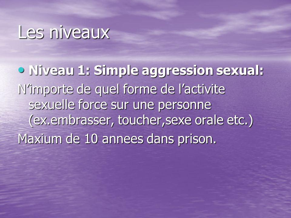 Les niveaux Niveau 1: Simple aggression sexual: Niveau 1: Simple aggression sexual: N'importe de quel forme de l'activite sexuelle force sur une personne (ex.embrasser, toucher,sexe orale etc.) Maxium de 10 annees dans prison.