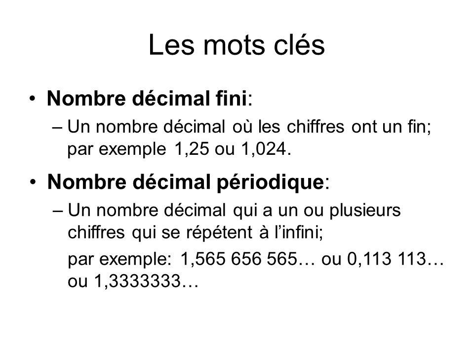 Les mots clés Nombre décimal fini: –Un nombre décimal où les chiffres ont un fin; par exemple 1,25 ou 1,024. Nombre décimal périodique: –Un nombre déc