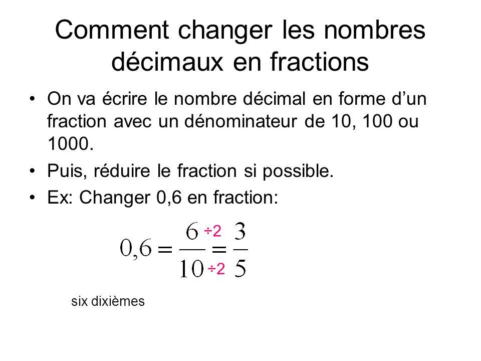 Comment changer les nombres décimaux en fractions On va écrire le nombre décimal en forme d'un fraction avec un dénominateur de 10, 100 ou 1000. Puis,