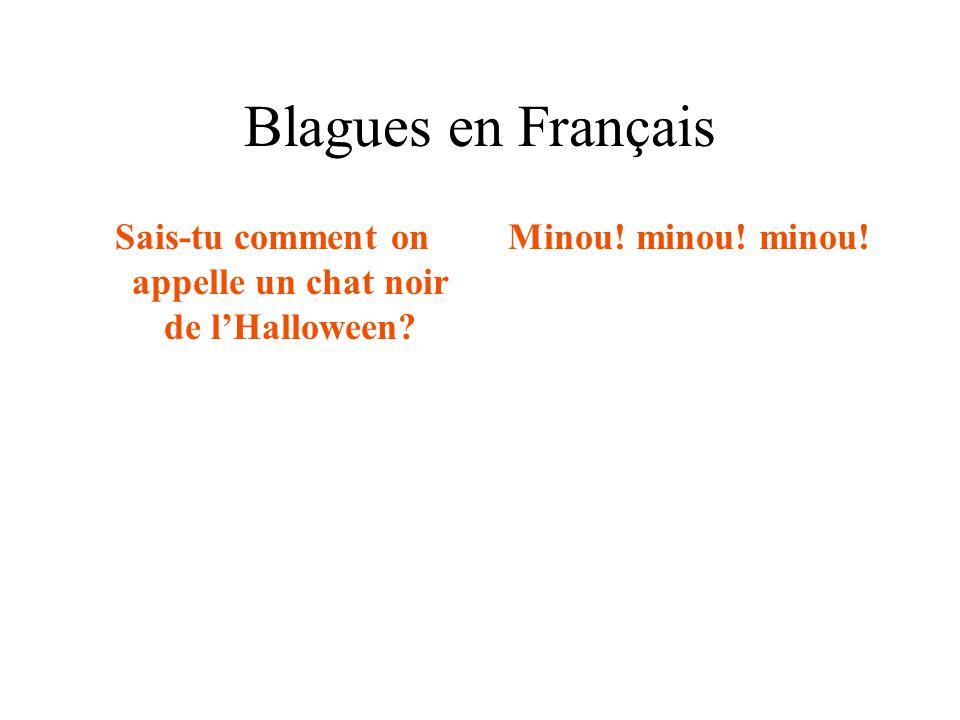 Blagues en Français Sais-tu comment on appelle un chat noir de l'Halloween? Minou! minou! minou!