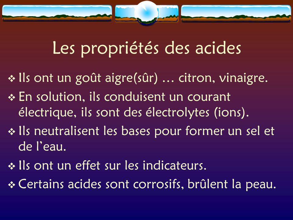 Les propriétés des acides  Ils ont un goût aigre(sûr) … citron, vinaigre.
