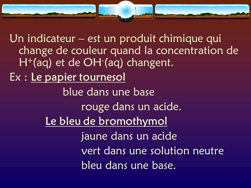 Un indicateur – est un produit chimique qui change de couleur quand la concentration de H + (aq) et de OH - (aq) changent.