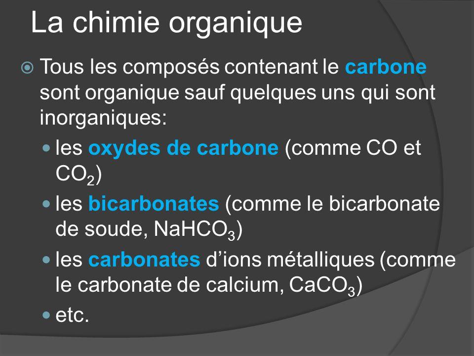 La chimie organique  Tous les composés contenant le carbone sont organique sauf quelques uns qui sont inorganiques: les oxydes de carbone (comme CO e