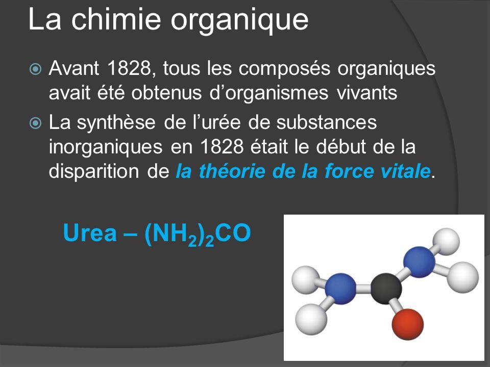 La chimie organique  Avant 1828, tous les composés organiques avait été obtenus d'organismes vivants  La synthèse de l'urée de substances inorganiqu
