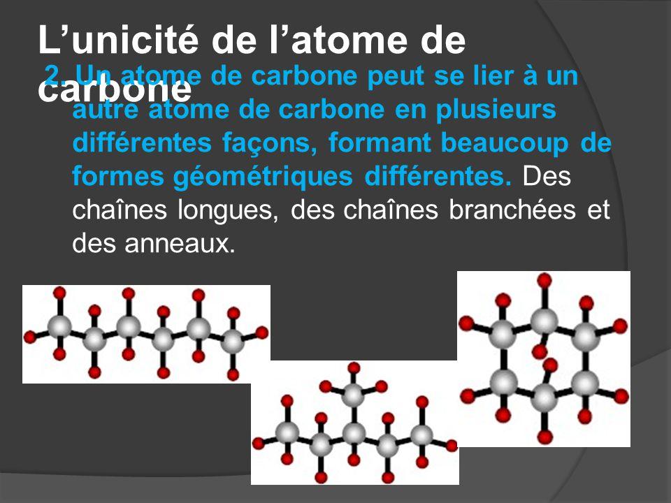 L'unicité de l'atome de carbone 2. Un atome de carbone peut se lier à un autre atome de carbone en plusieurs différentes façons, formant beaucoup de f