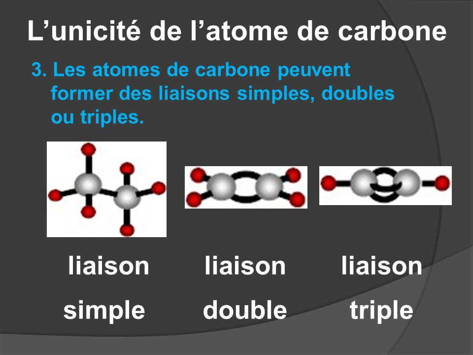 L'unicité de l'atome de carbone 3. Les atomes de carbone peuvent former des liaisons simples, doubles ou triples. liaison simple liaison double liaiso