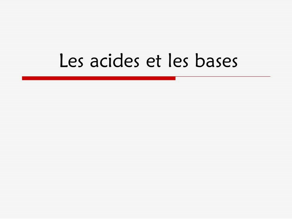 Les propriétés des acides et des bases Exemples d'acides:  La douleur dans les muscles après les exercices – HC 3 H 5 O 3  Le lait sur – HC 3 H 5 O 3  Les oranges, citons, limes...- H 3 C 6 H 5 O 7  La brûlure d'estomac – HCl  La pluie acide - H 2 CO 3, H 2 SO 4, HNO 3