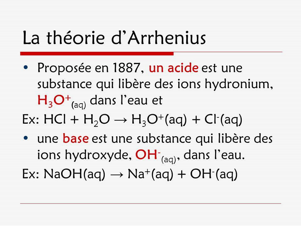 La théorie d'Arrhenius Proposée en 1887, un acide est une substance qui libère des ions hydronium, H 3 O + (aq) dans l'eau et Ex: HCl + H 2 O → H 3 O