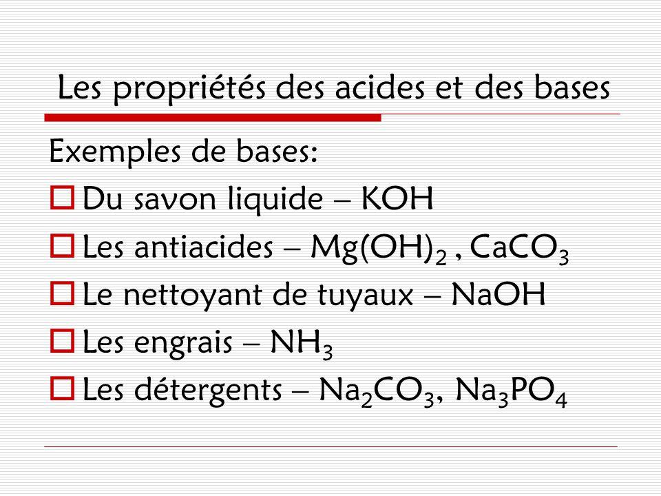 Les propriétés des acides et des bases Exemples de bases:  Du savon liquide – KOH  Les antiacides – Mg(OH) 2, CaCO 3  Le nettoyant de tuyaux – NaOH