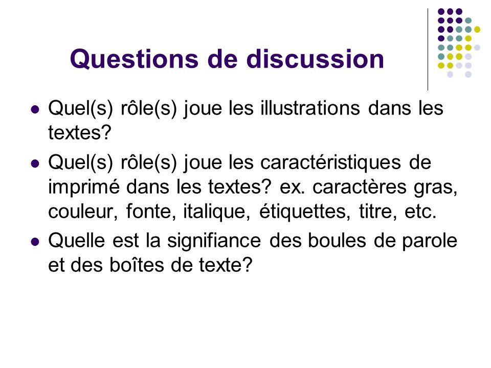 Questions de discussion Quel(s) rôle(s) joue les illustrations dans les textes.