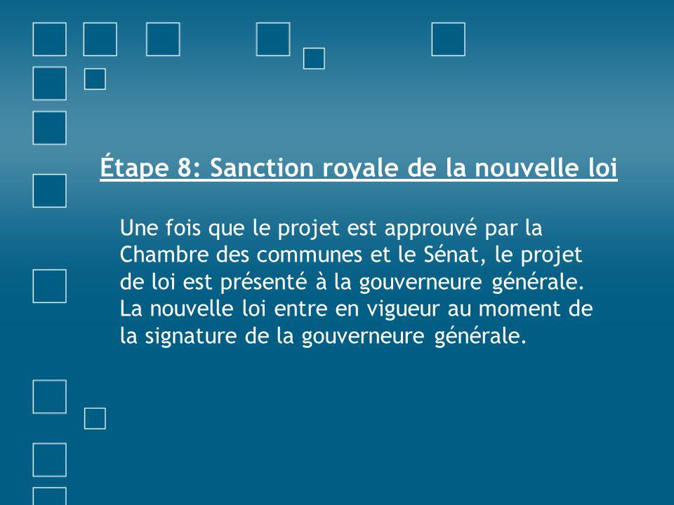 Étape 8: Sanction royale de la nouvelle loi Une fois que le projet est approuvé par la Chambre des communes et le Sénat, le projet de loi est présenté