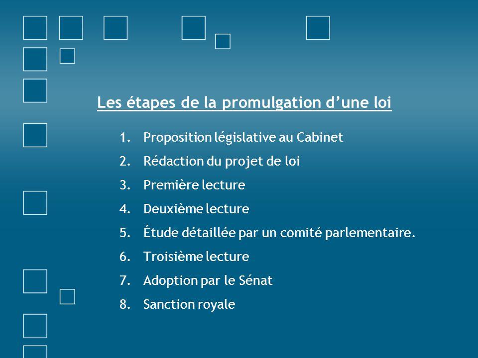 Les étapes de la promulgation d'une loi 1.Proposition législative au Cabinet 2.Rédaction du projet de loi 3.Première lecture 4.Deuxième lecture 5.Étud