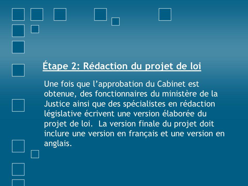 Étape 2: Rédaction du projet de loi Une fois que l'approbation du Cabinet est obtenue, des fonctionnaires du ministère de la Justice ainsi que des spé