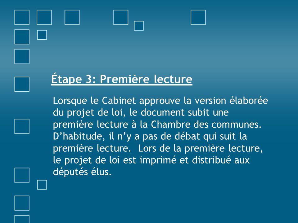 Étape 3: Première lecture Lorsque le Cabinet approuve la version élaborée du projet de loi, le document subit une première lecture à la Chambre des co