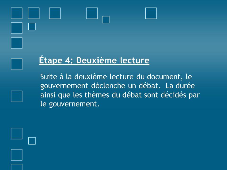Étape 4: Deuxième lecture Suite à la deuxième lecture du document, le gouvernement déclenche un débat. La durée ainsi que les thèmes du débat sont déc