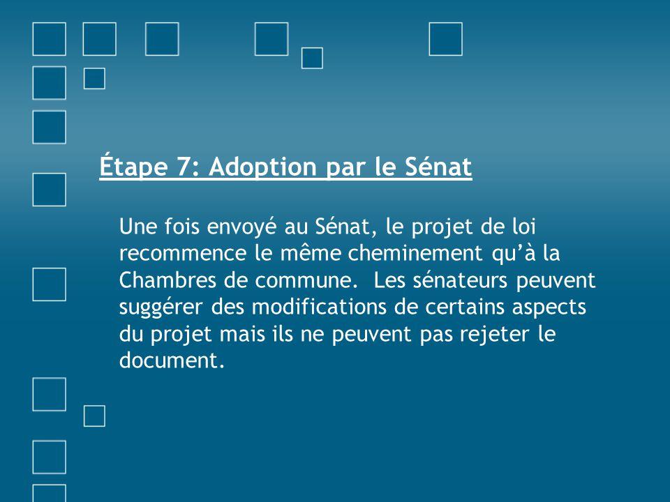 Étape 7: Adoption par le Sénat Une fois envoyé au Sénat, le projet de loi recommence le même cheminement qu'à la Chambres de commune. Les sénateurs pe