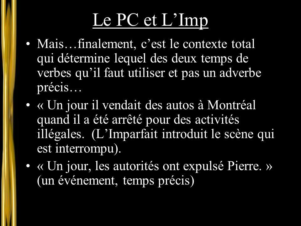 Le PC et L'Imp Mais…finalement, c'est le contexte total qui détermine lequel des deux temps de verbes qu'il faut utiliser et pas un adverbe précis… «