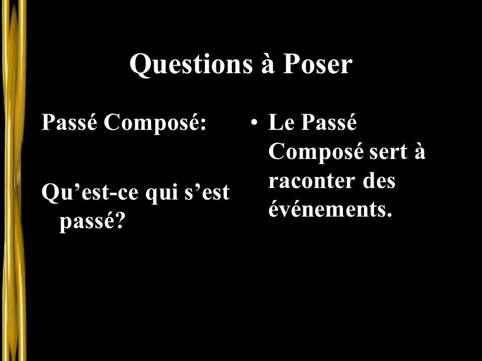 Questions à Poser Passé Composé: Qu'est-ce qui s'est passé? Le Passé Composé sert à raconter des événements.