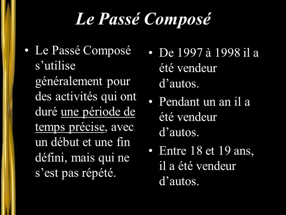 Le Passé Composé Le Passé Composé s'utilise généralement pour des activités qui ont duré une période de temps précise, avec un début et une fin défini