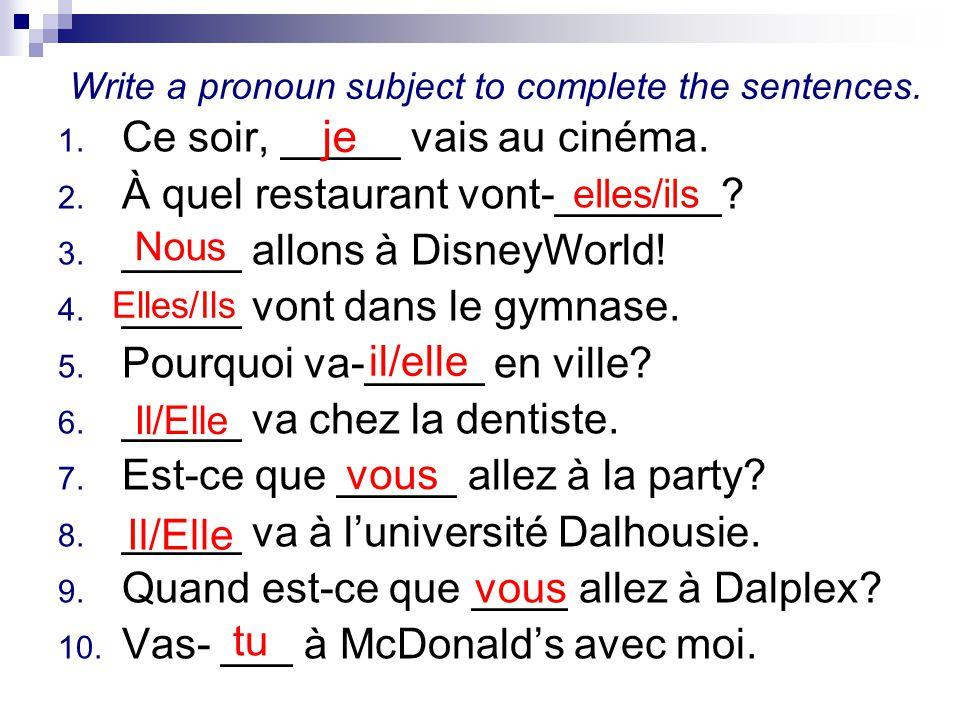 Write a pronoun subject to complete the sentences.