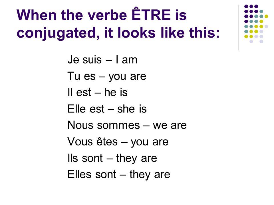 When the verbe ÊTRE is conjugated, it looks like this: Je suis – I am Tu es – you are Il est – he is Elle est – she is Nous sommes – we are Vous êtes – you are Ils sont – they are Elles sont – they are