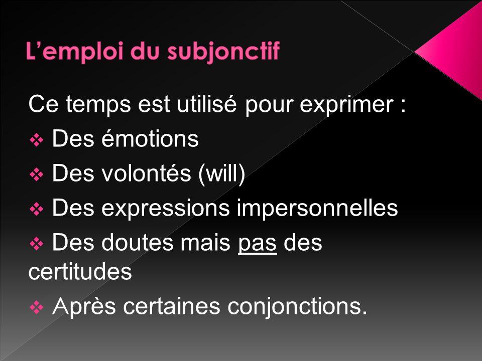 Ce temps est utilisé pour exprimer :  Des émotions  Des volontés (will)  Des expressions impersonnelles  Des doutes mais pas des certitudes  A près certaines conjonctions.