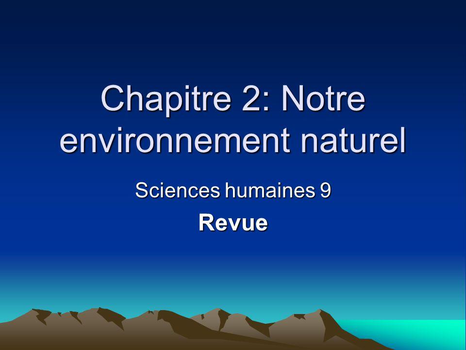 Chapitre 2: Notre environnement naturel Sciences humaines 9 Revue