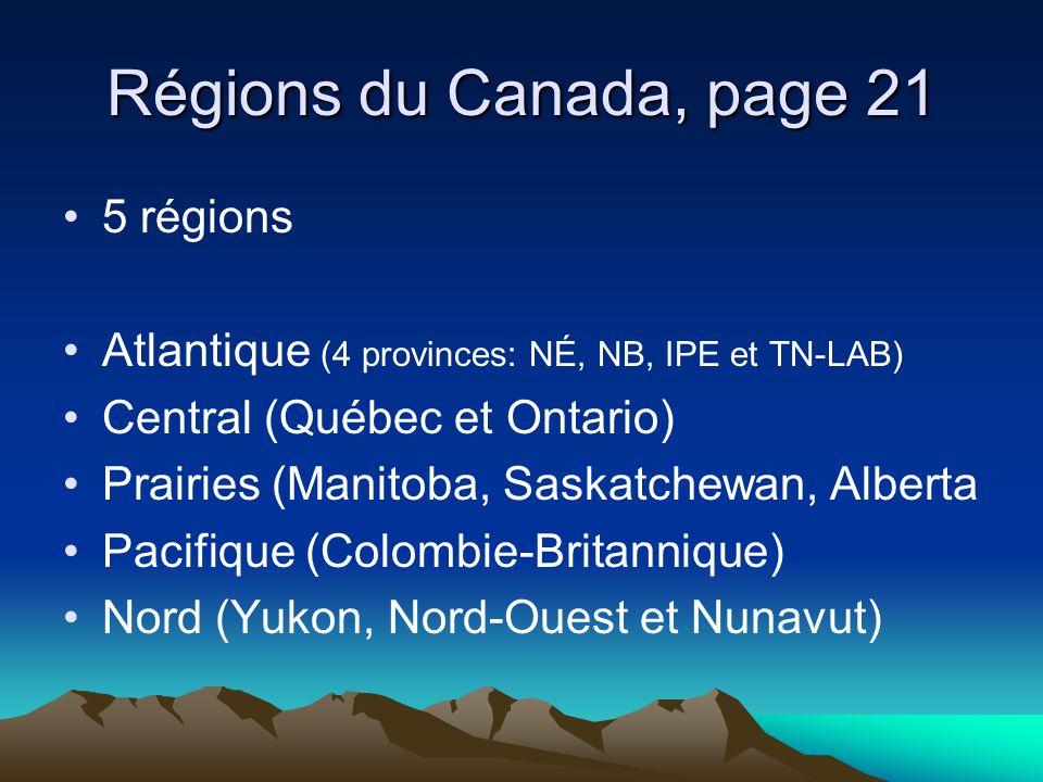 Régions du Canada, page 21 5 régions Atlantique (4 provinces: NÉ, NB, IPE et TN-LAB) Central (Québec et Ontario) Prairies (Manitoba, Saskatchewan, Alberta Pacifique (Colombie-Britannique) Nord (Yukon, Nord-Ouest et Nunavut)