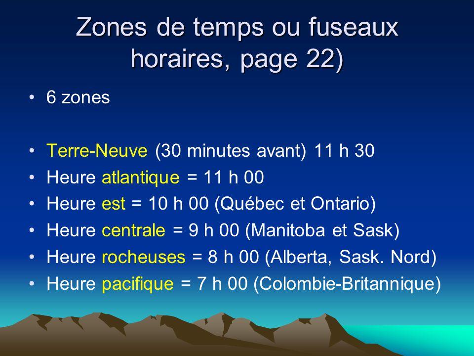 Zones de temps ou fuseaux horaires, page 22) 6 zones Terre-Neuve (30 minutes avant) 11 h 30 Heure atlantique = 11 h 00 Heure est = 10 h 00 (Québec et Ontario) Heure centrale = 9 h 00 (Manitoba et Sask) Heure rocheuses = 8 h 00 (Alberta, Sask.