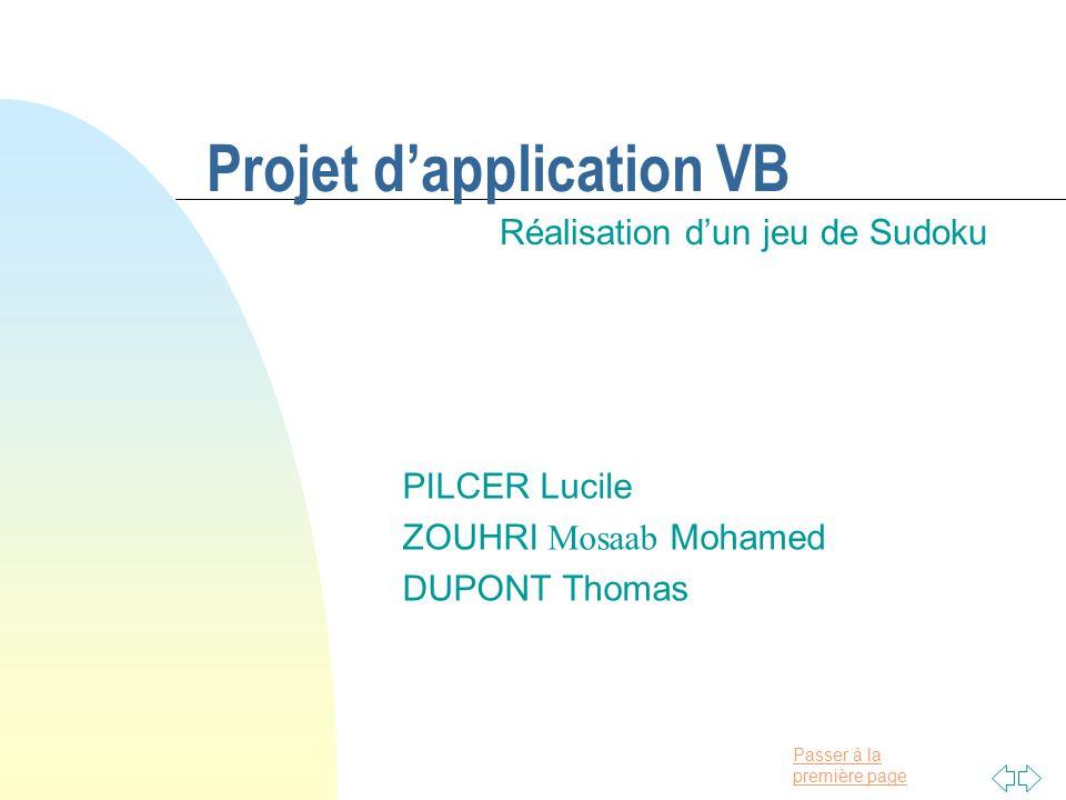 Passer à la première page Projet d'application VB Réalisation d'un jeu de Sudoku PILCER Lucile ZOUHRI Mosaab Mohamed DUPONT Thomas