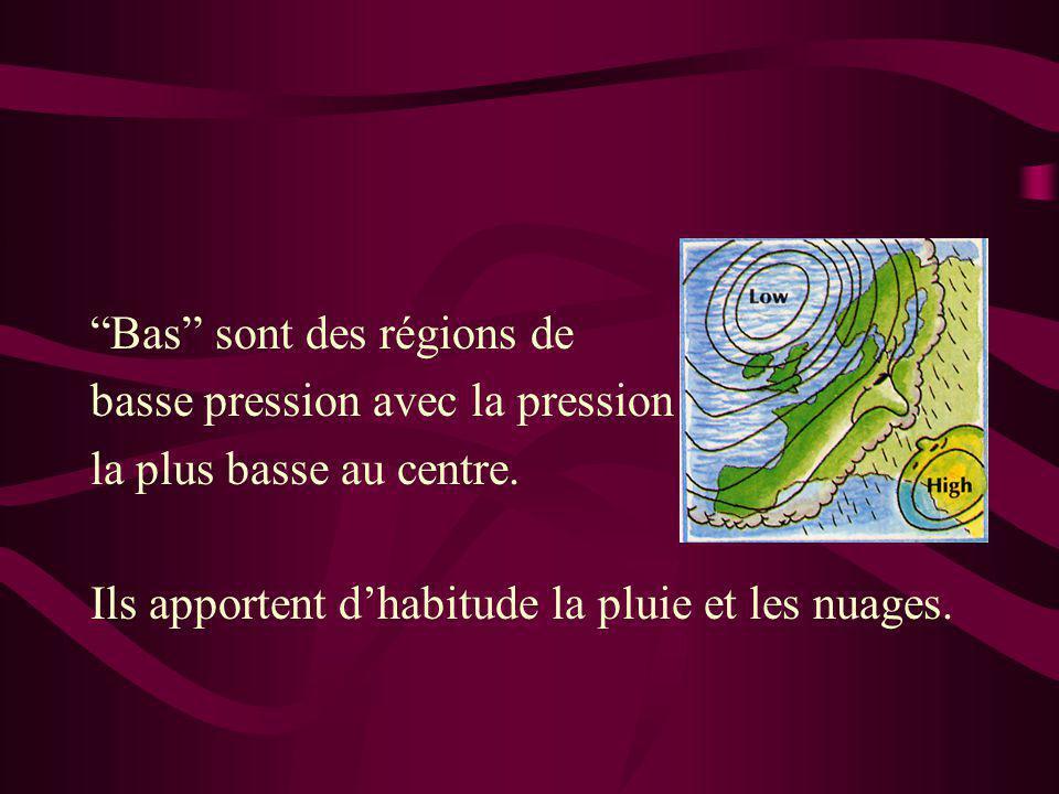 """""""Bas"""" sont des régions de basse pression avec la pression le la plus basse au centre. Ils apportent d'habitude la pluie et les nuages."""