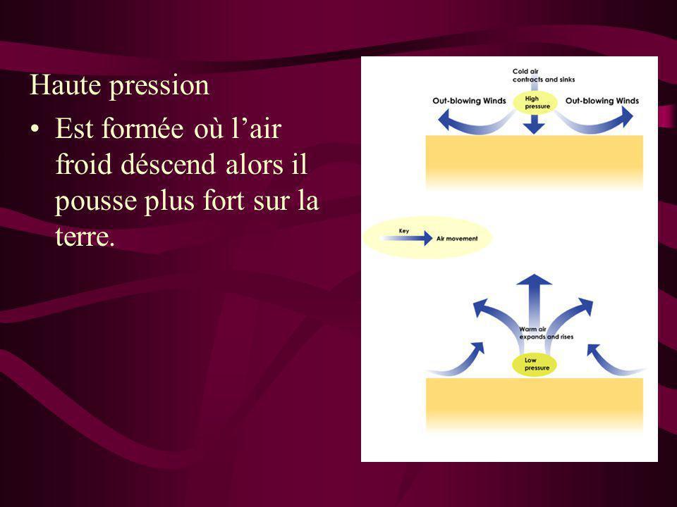 Haute pression Est formée où l'air froid déscend alors il pousse plus fort sur la terre.