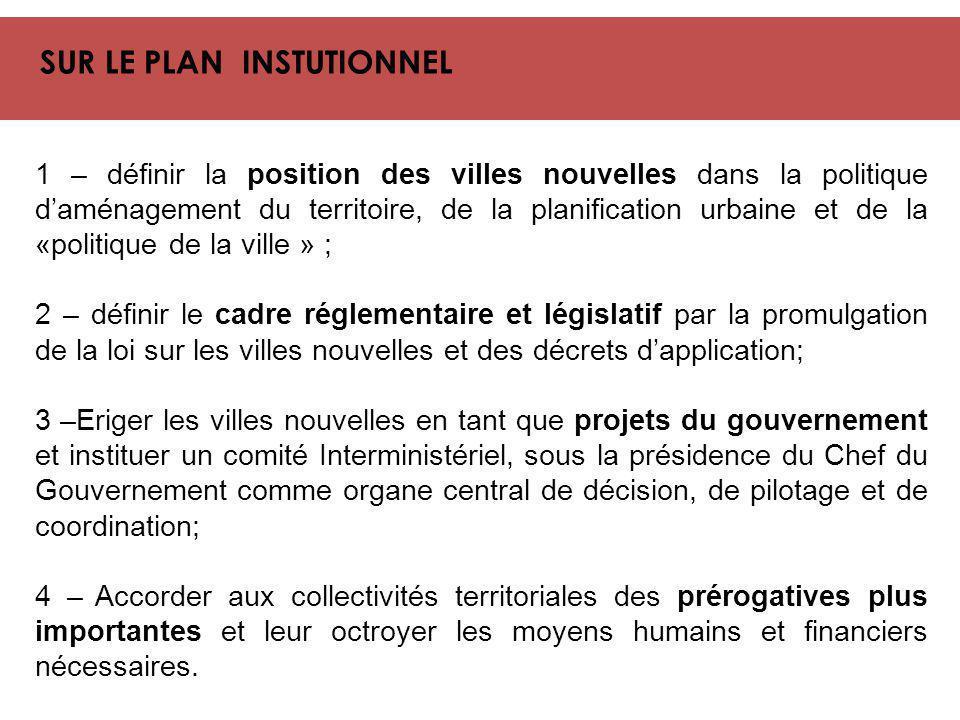 SUR LE PLAN INSTUTIONNEL 1 – définir la position des villes nouvelles dans la politique d'aménagement du territoire, de la planification urbaine et de