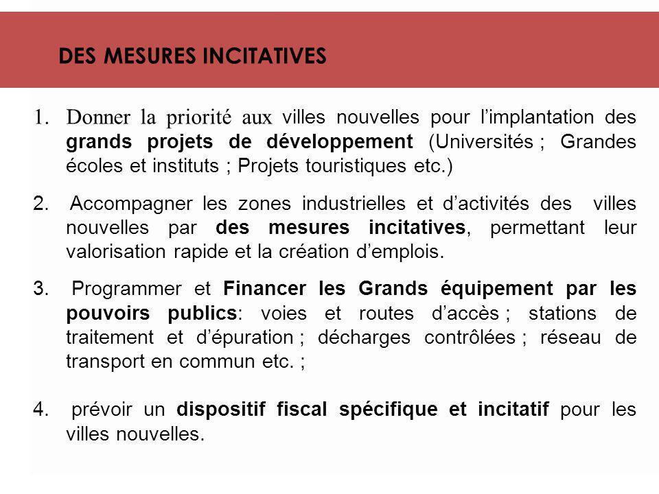 DES MESURES INCITATIVES 1.Donner la priorité aux villes nouvelles pour l'implantation des grands projets de développement (Universités ; Grandes école
