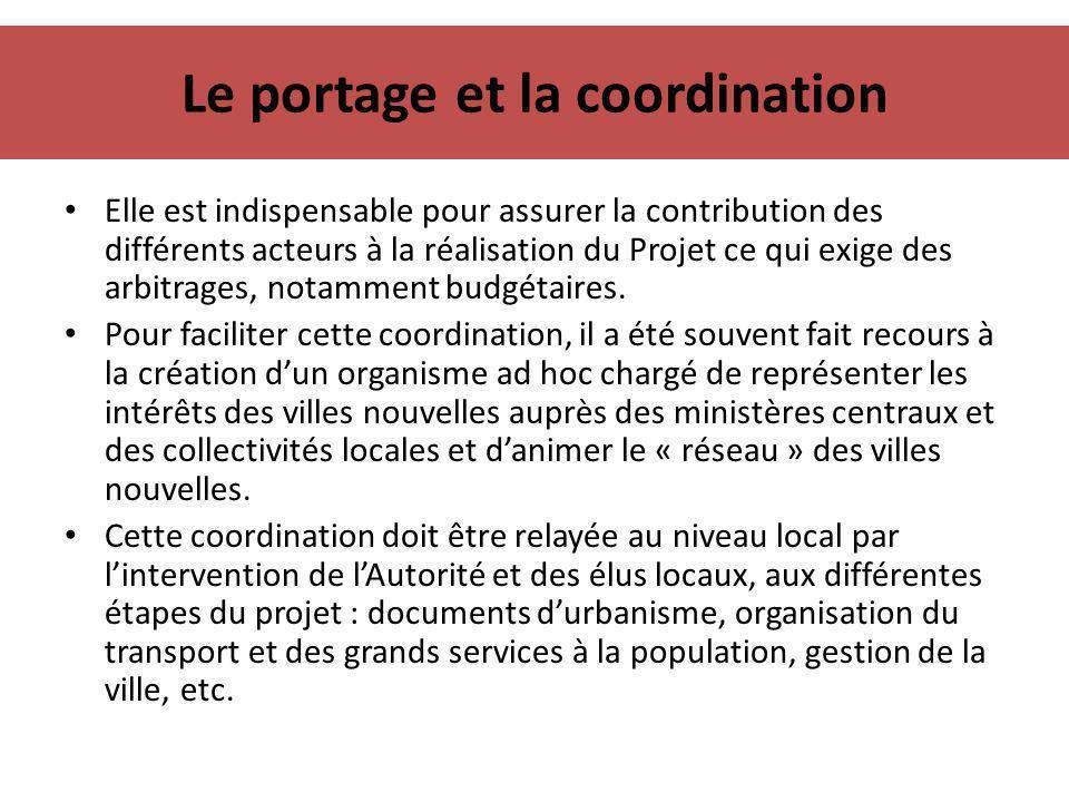Le portage et la coordination Elle est indispensable pour assurer la contribution des différents acteurs à la réalisation du Projet ce qui exige des a