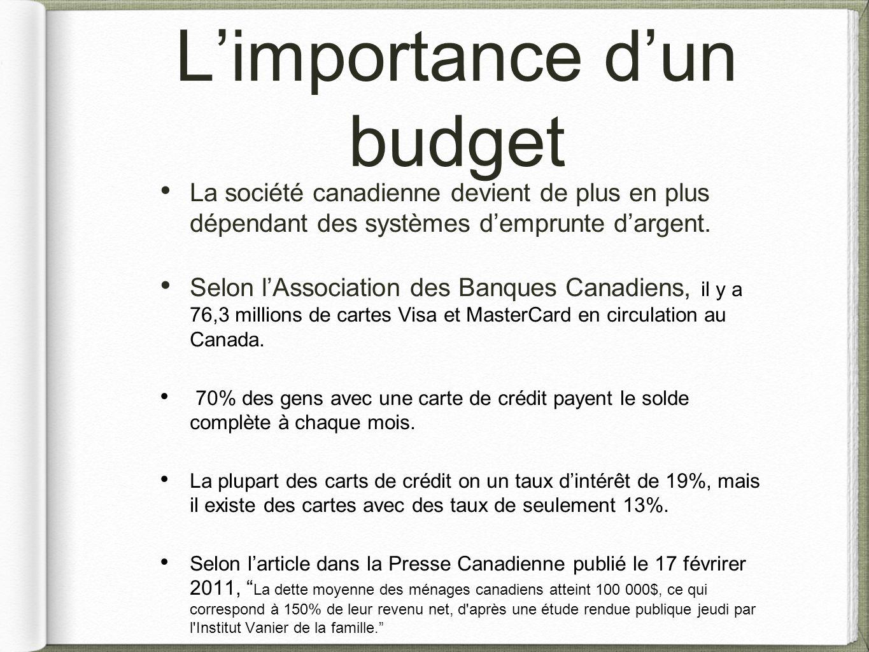 L'importance d'un budget La société canadienne devient de plus en plus dépendant des systèmes d'emprunte d'argent. Selon l'Association des Banques Can