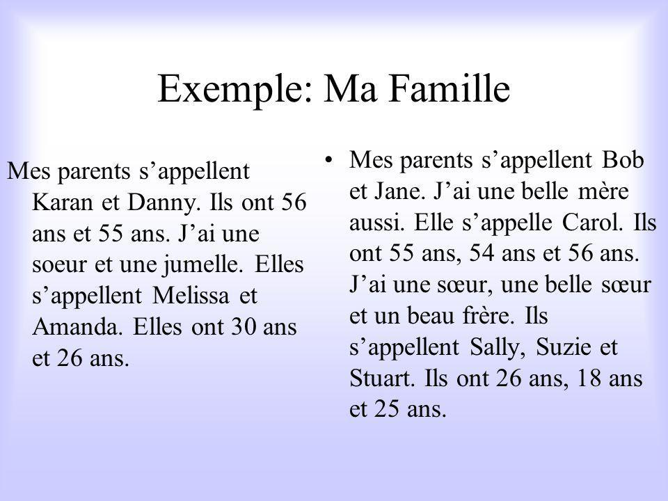 Exemple: Ma Famille Mes parents s'appellent Karan et Danny.