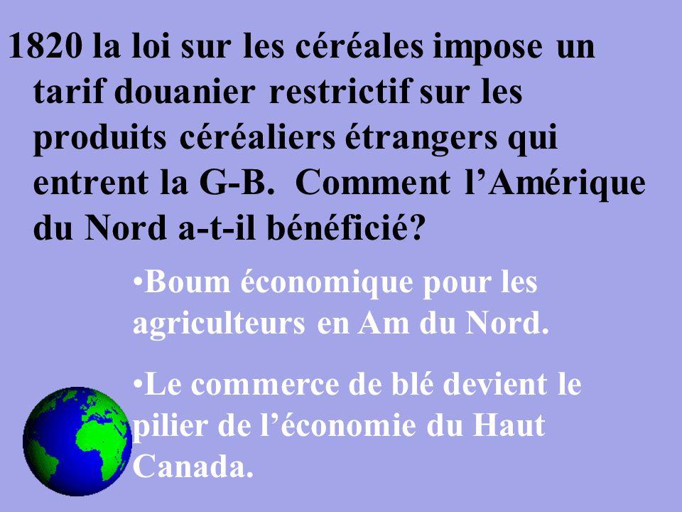 1820 la loi sur les céréales impose un tarif douanier restrictif sur les produits céréaliers étrangers qui entrent la G-B.